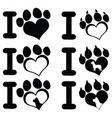 i love paw print logo design 02 collection vector image