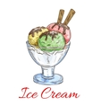 Ice cream scoops dessert in glass vector image vector image
