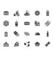 junk food flat glyph icons set burger fast vector image vector image