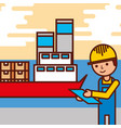 logistic employee cargo ship containers vector image