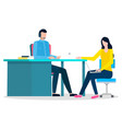 man and woman work on laptop workplace at office vector image vector image