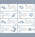 mussel and oyster posters set vector image vector image