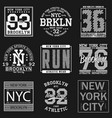 new york sport t-shirt set2 vector image vector image