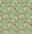 pattern seamless kids with daughter doodle vector image vector image