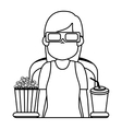 Person watching 3d movies vector image
