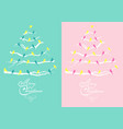 pink and teal christmas cards with trees and birds vector image