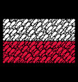 polish flag pattern of boot footprint items vector image