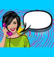 pop art cartoon woman hold hand retro phone talk vector image