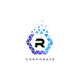 r blue hexagon letter logo with triangles vector image