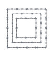 realistic 3d detailed barbed wire frames set vector image