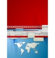 Red and blue technology background with world map vector image