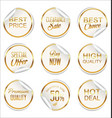 round white and gold paper sale sticker vector image vector image
