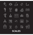 scales editable line icons set on black vector image vector image