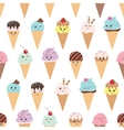 Seamless pattern with kawaii ice cream cones vector image