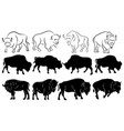 set bison collection stylized bison vector image vector image