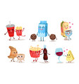 set of images with cute cartoon emoji food vector image vector image