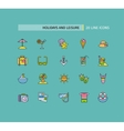 Set of Thin Lines Icons Holidays and Leisure vector image