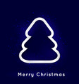 shiny christmas tree on dark blue background vector image vector image