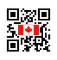 smartphone readable qr code with canada flag icon vector image vector image