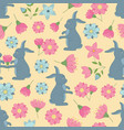 spring seamless pattern with flowers and rabbits vector image vector image
