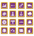timber industry icons set purple square vector image vector image