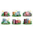 town houses summer compositions set vector image vector image