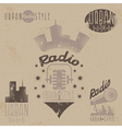 vintage grunge labels of urban radio with vector image