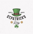 vintage style saint patricks day logo or label vector image vector image