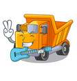 with guitar truck on highway road with mascot vector image vector image