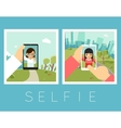 Womens selfie Outdoor and mountains photos vector image