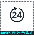24 hours available icon flat vector image vector image