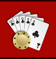 a royal flush of clubs with gold poker chip on vector image