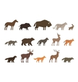 Animals set of colored icons isolated on white vector image vector image