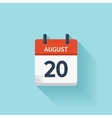 August 20 flat daily calendar icon Date vector image vector image