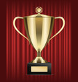award in shape cup with handle on pedestal vector image vector image