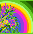background with tropical flowers and palm leaves vector image