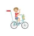 Boy Riding A Bicycle Waving vector image
