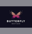 butterfly logo for beauty salon vector image