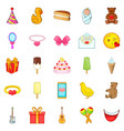 cakes icons set cartoon style vector image vector image