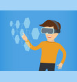 cartoon guy in virtual reality with glasses eps 10 vector image vector image