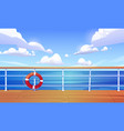 cartoon with cruise ship deck and sea vector image vector image
