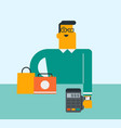 caucasian man paying wireless with a smart watch vector image vector image