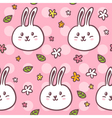 Cute seamless pattern with doodle rabbits and vector image