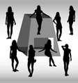 different girls silhouette vector image