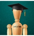 Education design wooden dummy in the mortarboard vector image