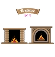 fireplace icon set isolated on white vector image