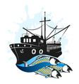 fishing vessel with catch vector image vector image