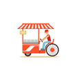 flat street food cart with fast food vector image