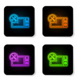 glowing neon microwave oven with screwdriver and vector image vector image