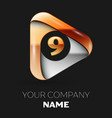golden number nine logo in golden-silver triangle vector image vector image